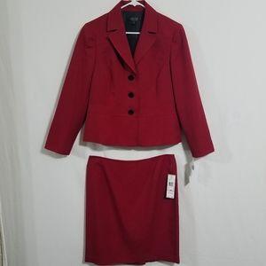 Kasper Womens 12P Blazer Skirt Set Suit Red Petite